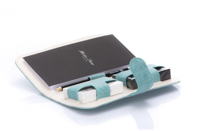 Étienne - Leather card case Alligator-effect Turquoise