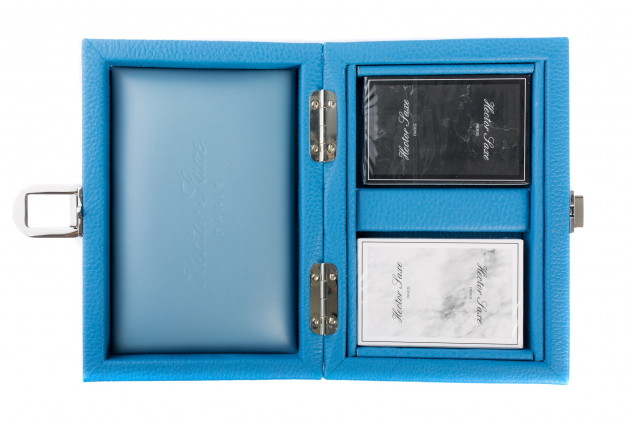 Cards set buffalo leather Light Blue