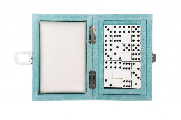 Coffret Dominos cuir impression Alligator Turquoise