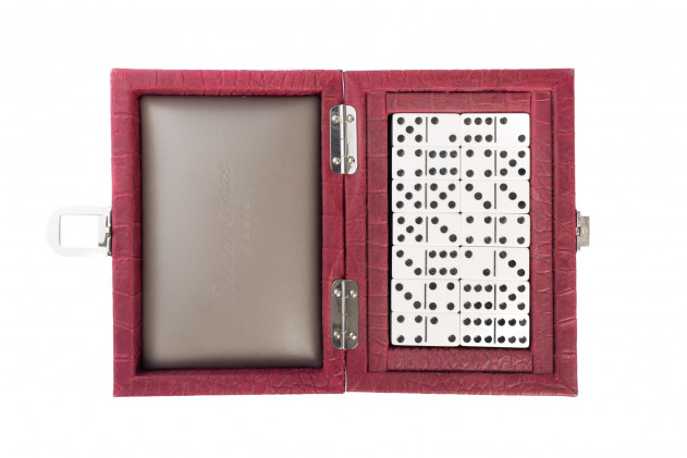 Coffret Dominos cuir impression Alligator Rubis