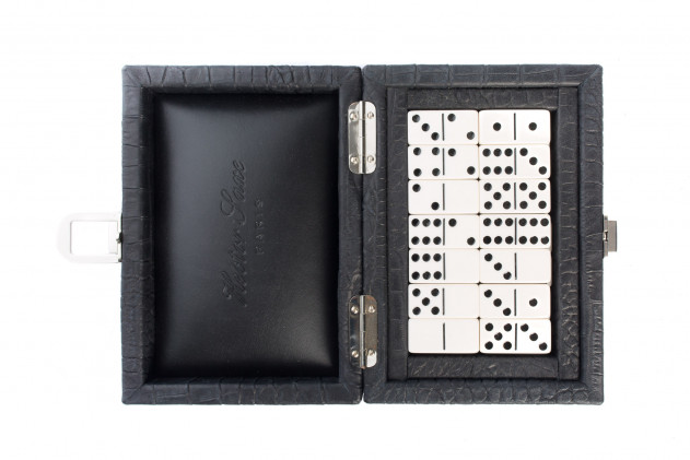 Coffret Dominos cuir impression Alligator Noir