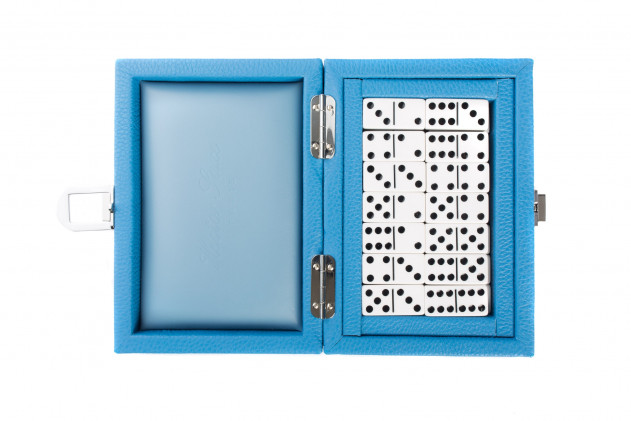 Double 6 Dominoes set Buffalo leather Light Blue
