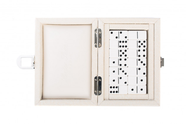 Double 6 Dominoes set shagreen-effect leather Beige