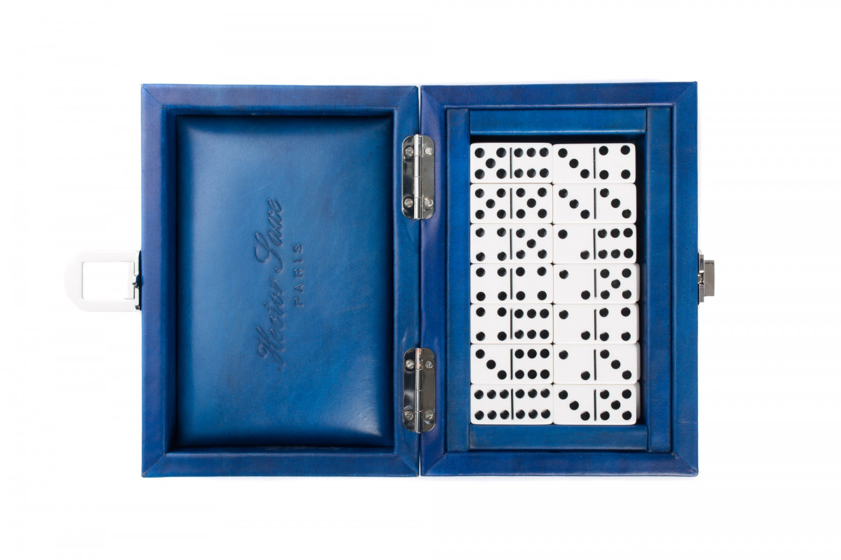 Double 6 Dominoes set patina leather Blue
