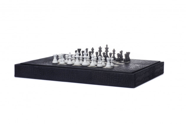 Multi-game box Alligator leather effect Black