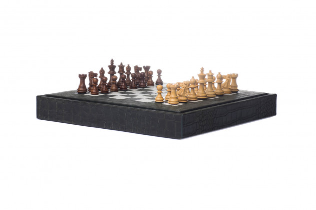 Chess box Alligator effect leather Kaki
