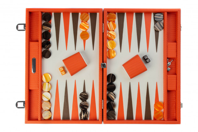 Camille - Backgammon couture leather large Orange