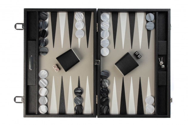 - Backgammon cuir façon Galuchat medium Beige