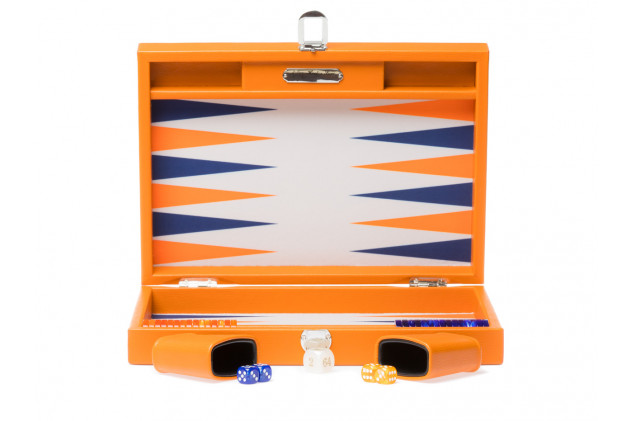 Camille - Backgammon Couture leather large Coral